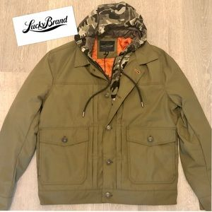 Lucky Camo Hooded Olive Military Jacket